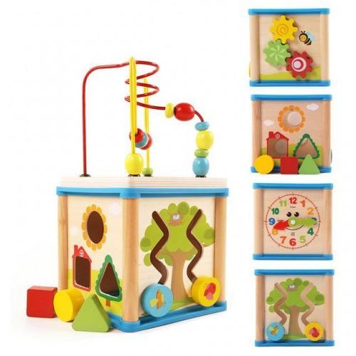 Дървен куб с 5 игри