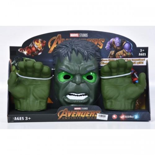 Светеща маска с ръкавици Хълк Avengers